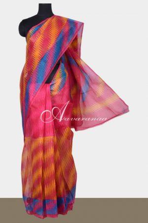 Pink and Mustard printed supernet saree-0