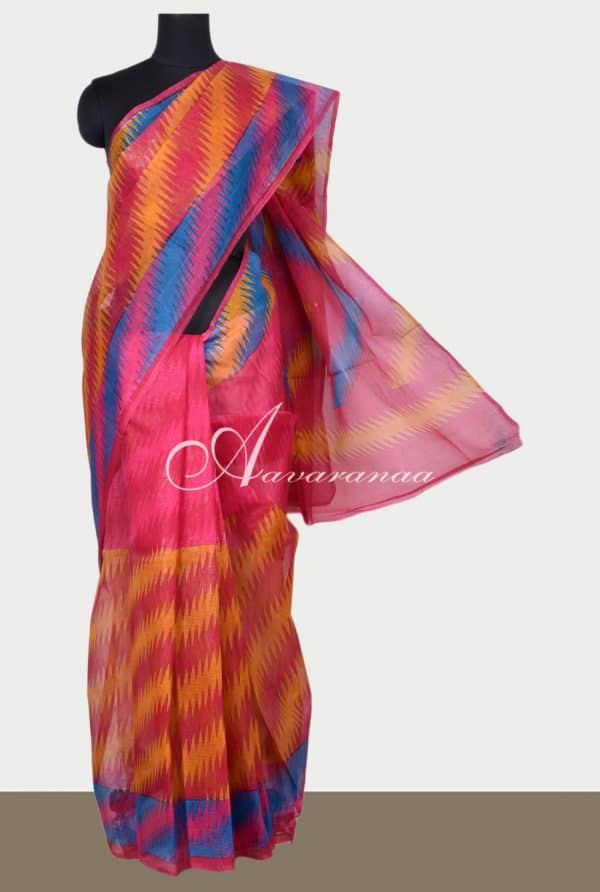 Pink and Mustard printed supernet saree-0