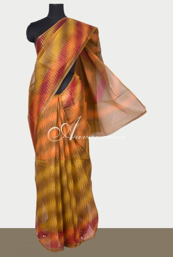 Mustard and oil mustard zig zag printed supernet saree-0