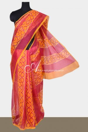 Orange and pink printed supernet saree-0