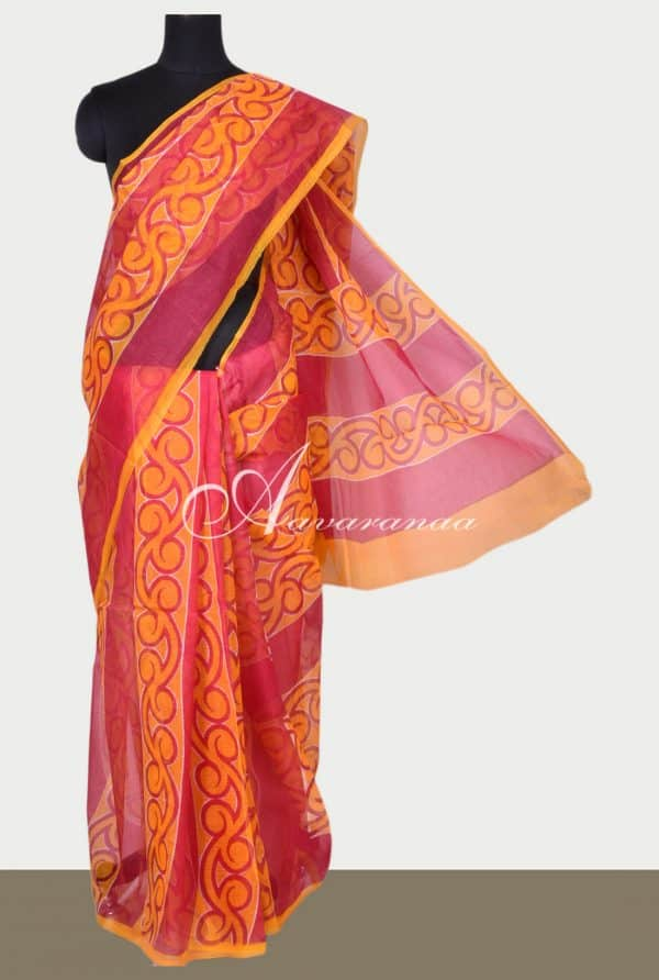 Orange and pink printed supernet saree-0