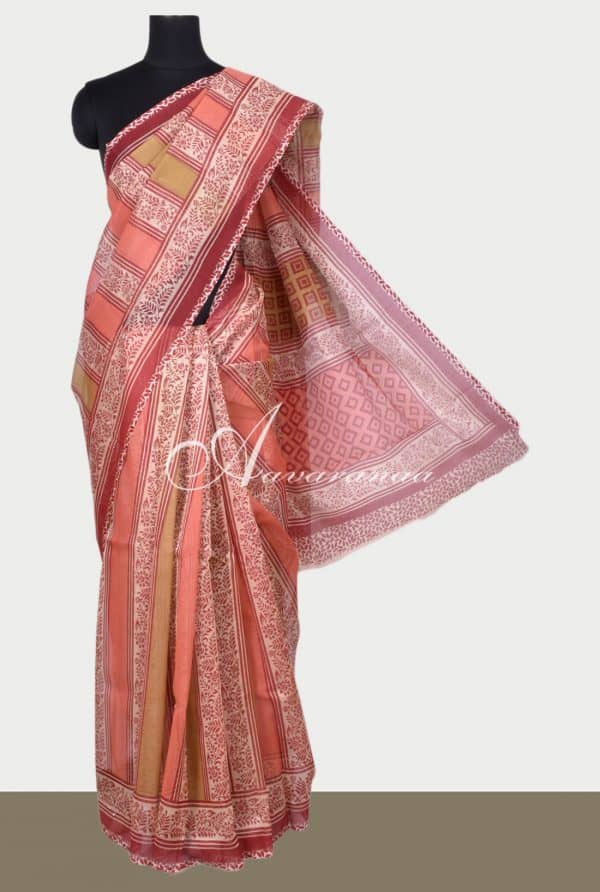 Peach printed supernet saree-0