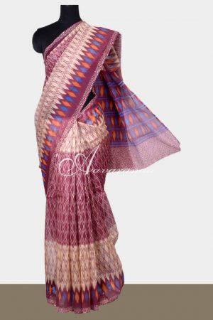 Beige and purple printed supernet saree-0