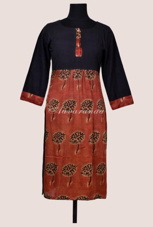 Rust modal silk tunic-0