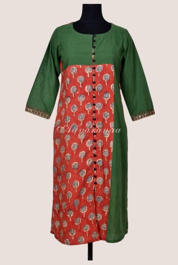 Green cotton rust modal silk kurta-0