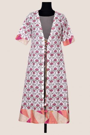 Cream floral print cotton kurta with grey layering-17048