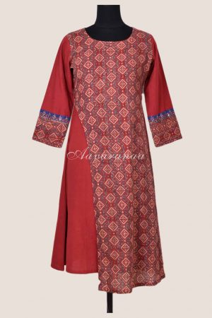 Rust ajrakh asymmetric cotton kurta-0