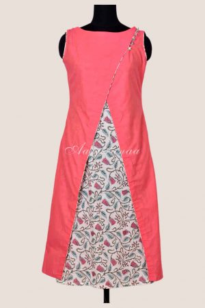 Peach layered cotton kurta-0