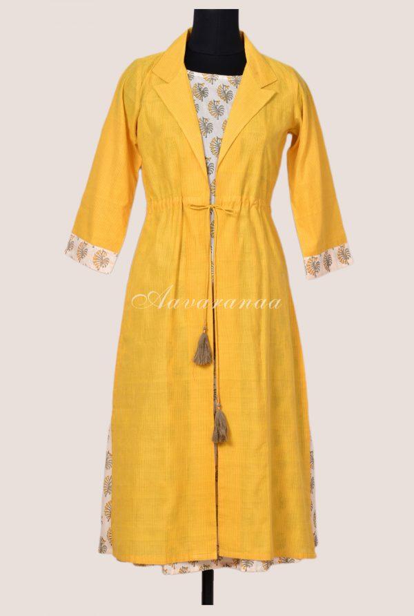 Summer yellow cotton layered tunic-17051