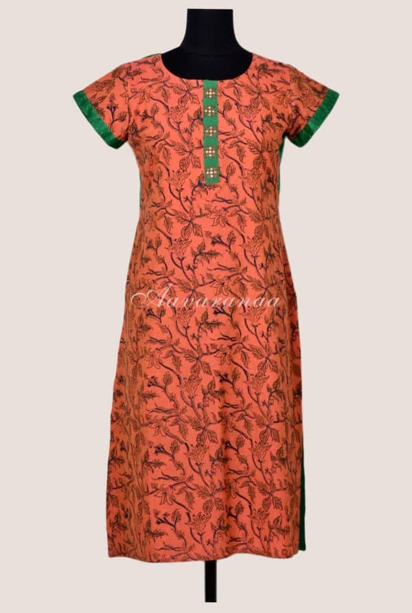 Sobre orange kalamkari cotton kurta-17083