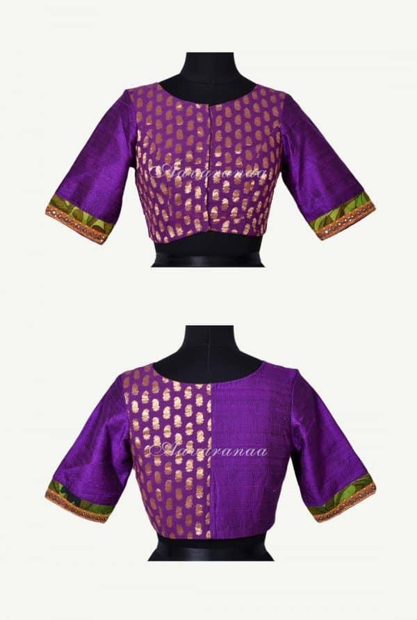 Violet zari georgette blouse-0