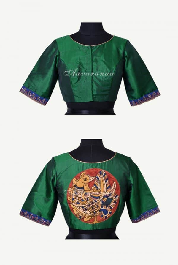 Green silk kalamkari applique blouse-0