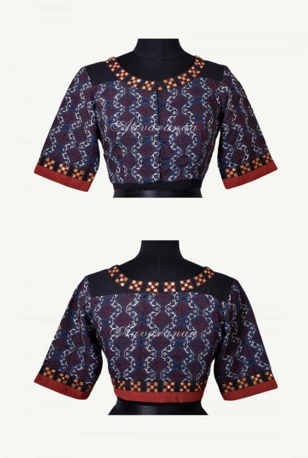 Blue ajrakh cotton blouse-0
