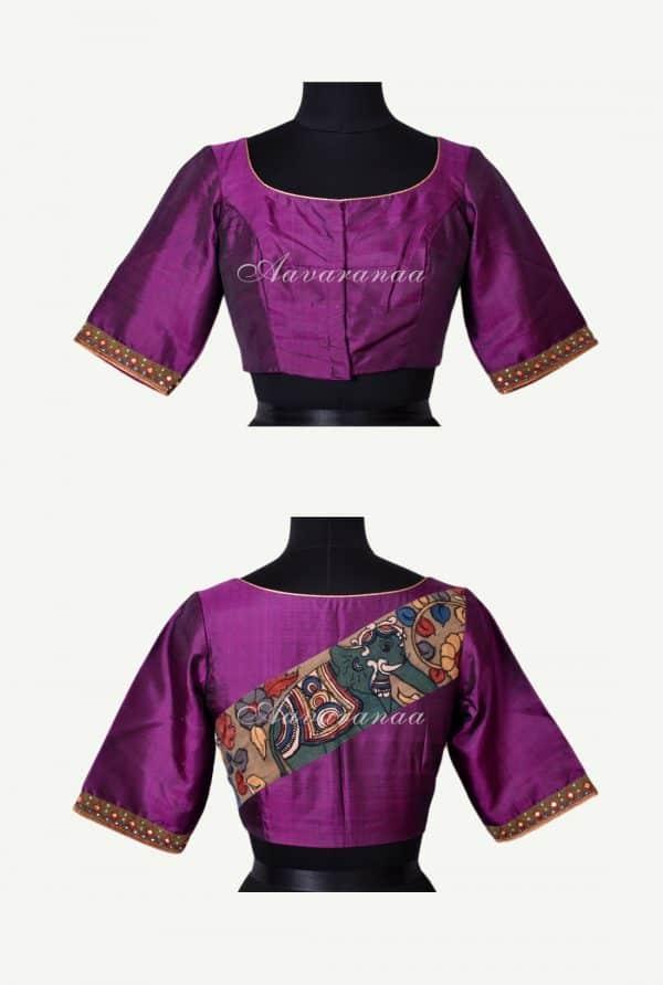 Violet silk kalamkari applique blouse-0