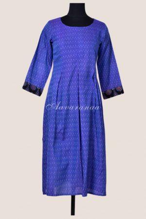 Purple ikat pleated tunic-0