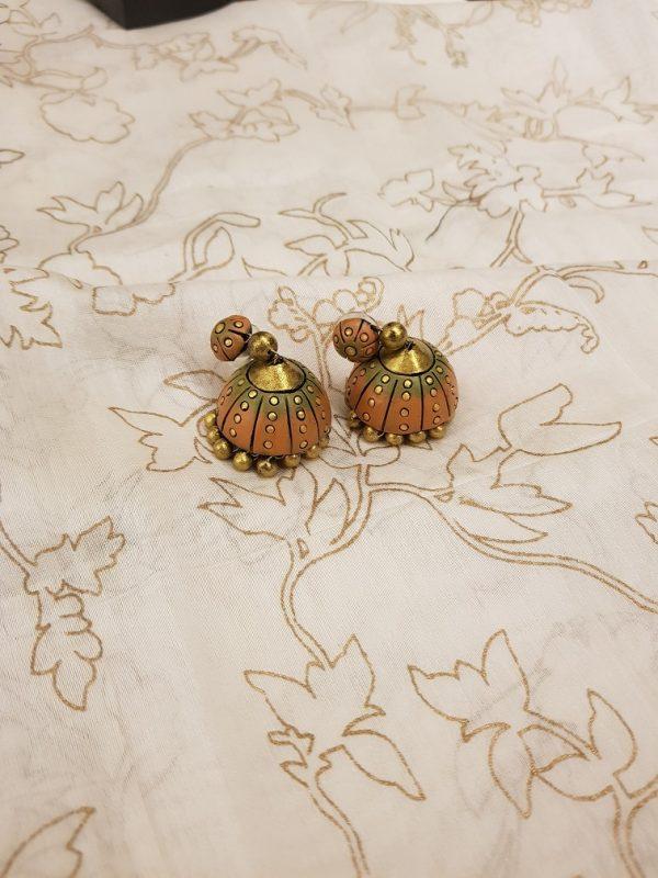 Orange terracotta earring-0