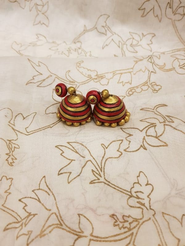 Red with gold terracotta earring-0