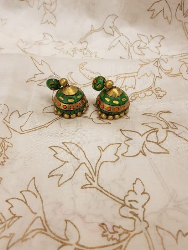 Green with gold terracotta earring-0
