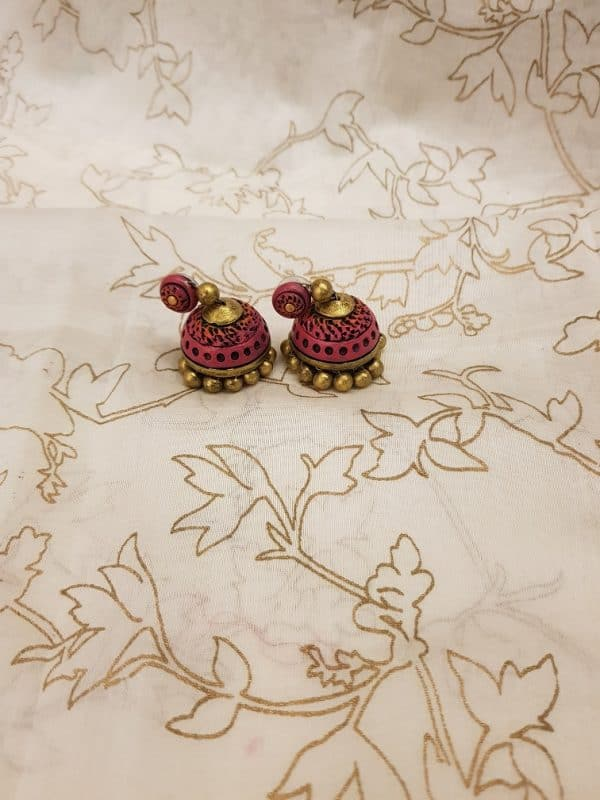 Pink with gold terracotta earring-0
