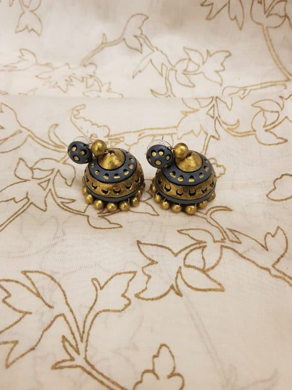 Grey and gold terracotta earring-0