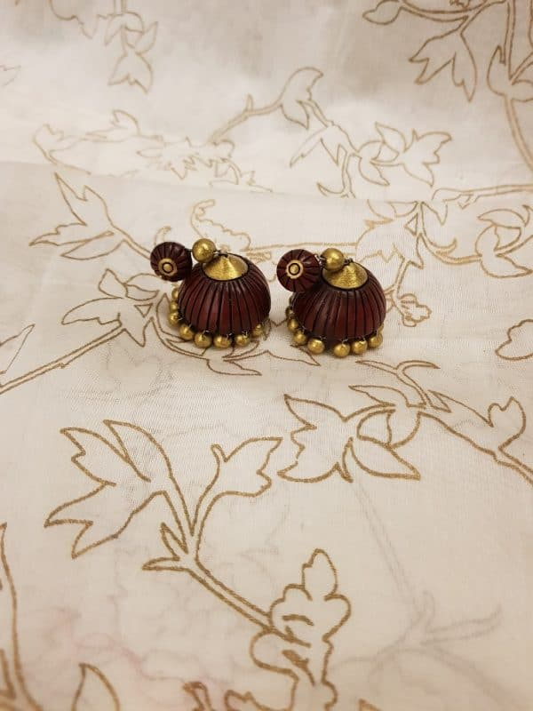 Maoron and gold terracotta earring-0
