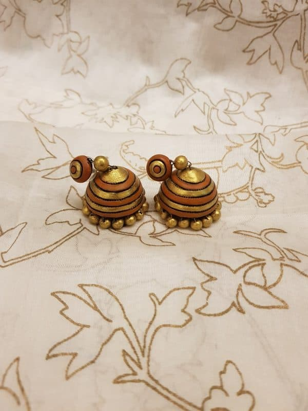 Rust and gold terracotta earring-0