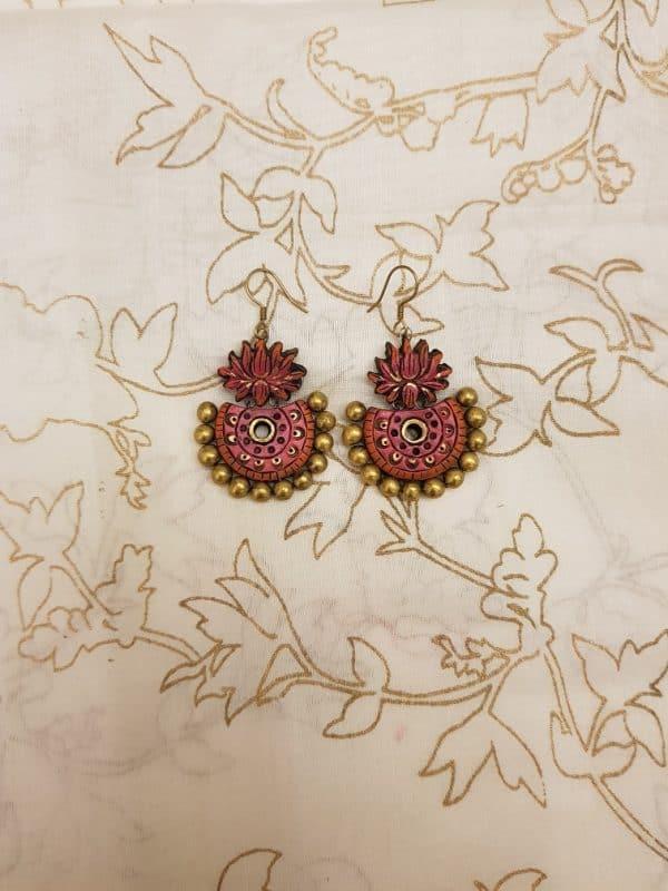 Pink lotus terracotta earring-0