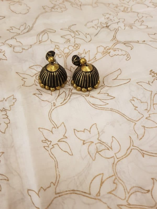 Black and gold terracotta earring-0