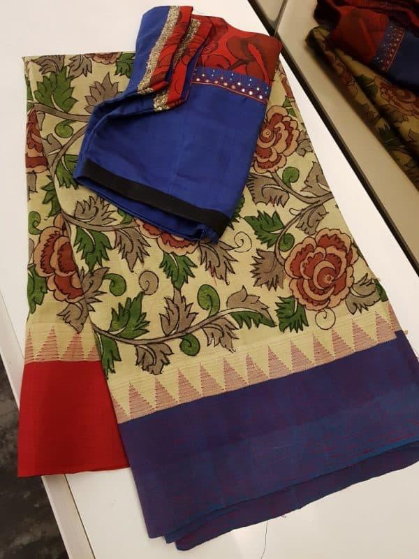 Beige cotton with silk border kalamkari saree-0