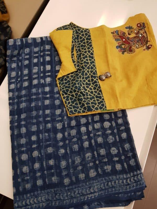 Indigo blue polka print kota saree-0