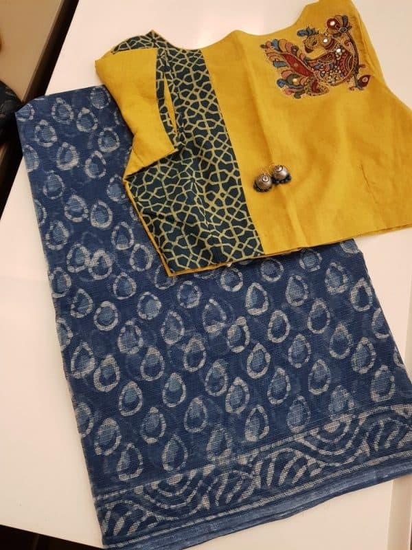 Indigo blue tilak print kota saree-0