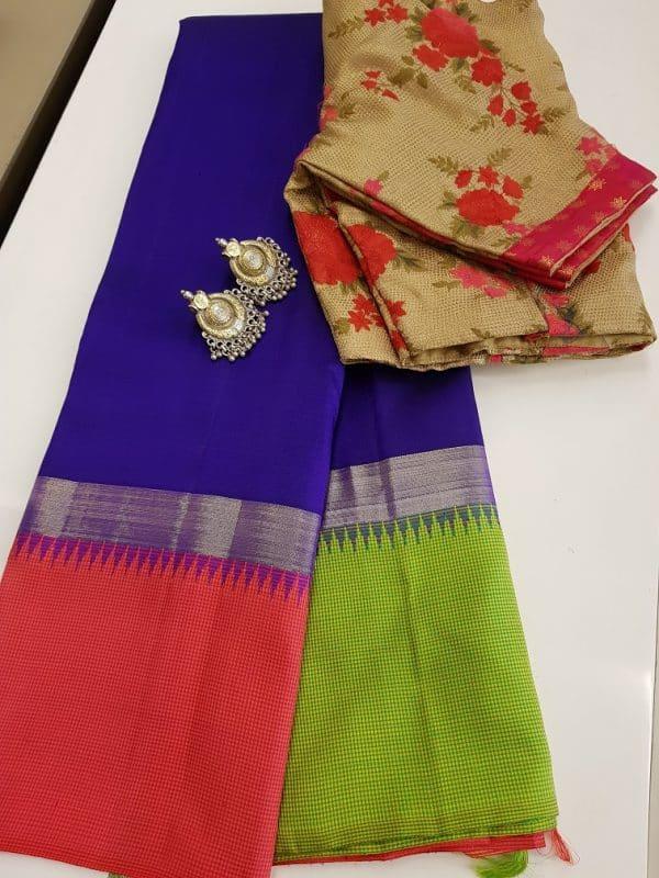 Blue pink green kanchi silk saree-0