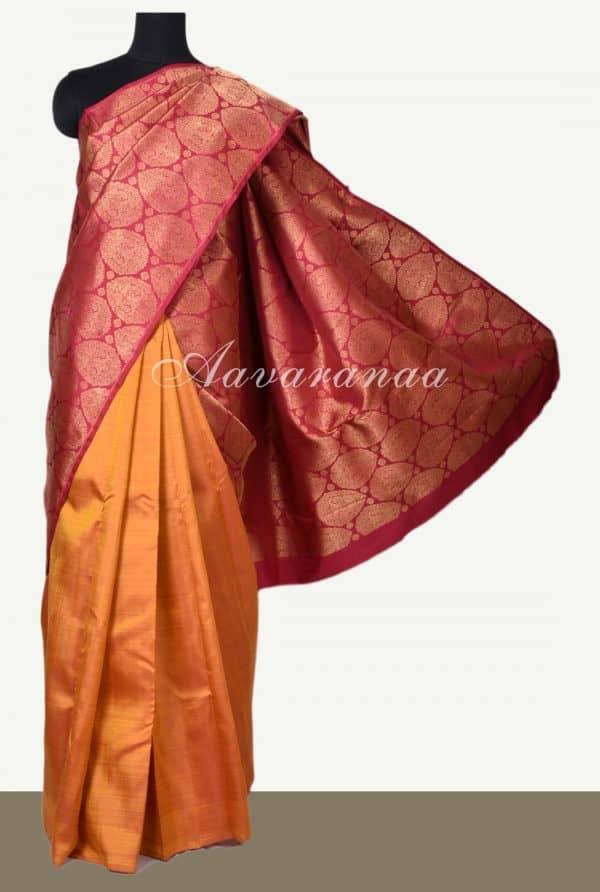 Red mustard half half kanchi silk saree-0