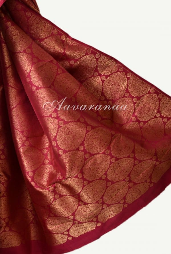 Red mustard half half kanchi silk saree-17156