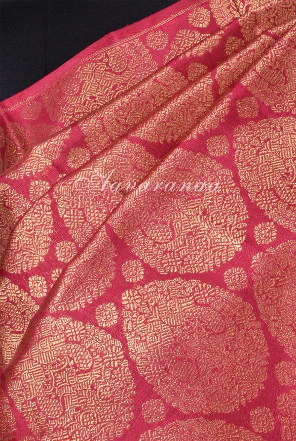 Red mustard half half kanchi silk saree-17157