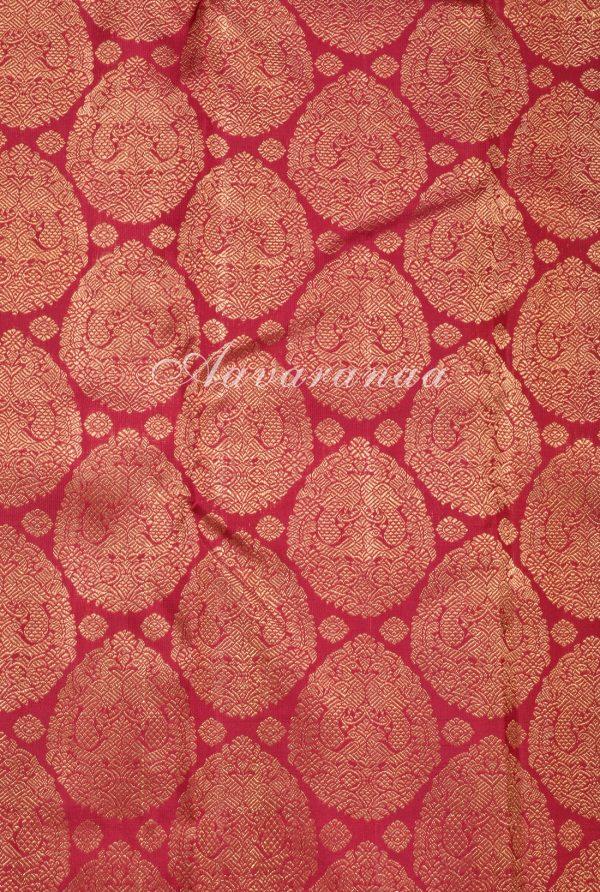 Red mustard half half kanchi silk saree-17158