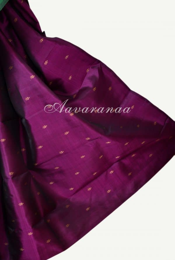 Bottle green and pink partly pallu kanchi silk saree-17161