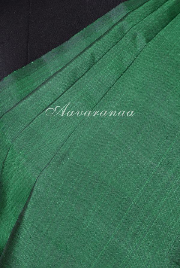 Bottle green and pink partly pallu kanchi silk saree-17160