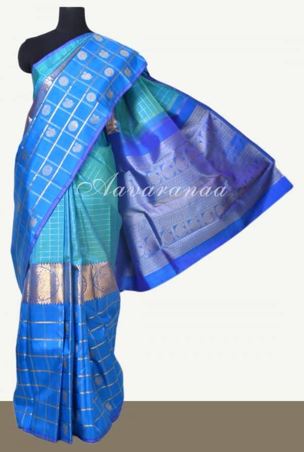 Teal and blue centre border kanchi silk saree-0