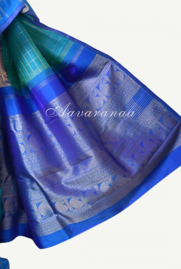 Teal and blue centre border kanchi silk saree-17207