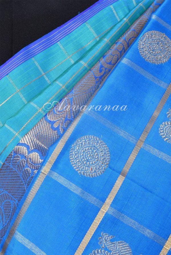 Teal and blue centre border kanchi silk saree-17206