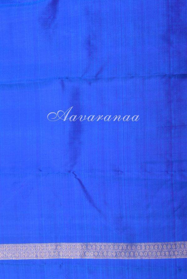 Teal and blue centre border kanchi silk saree-17208