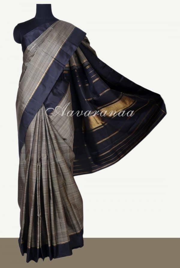 Black and beige checks kanchi silk saree-0