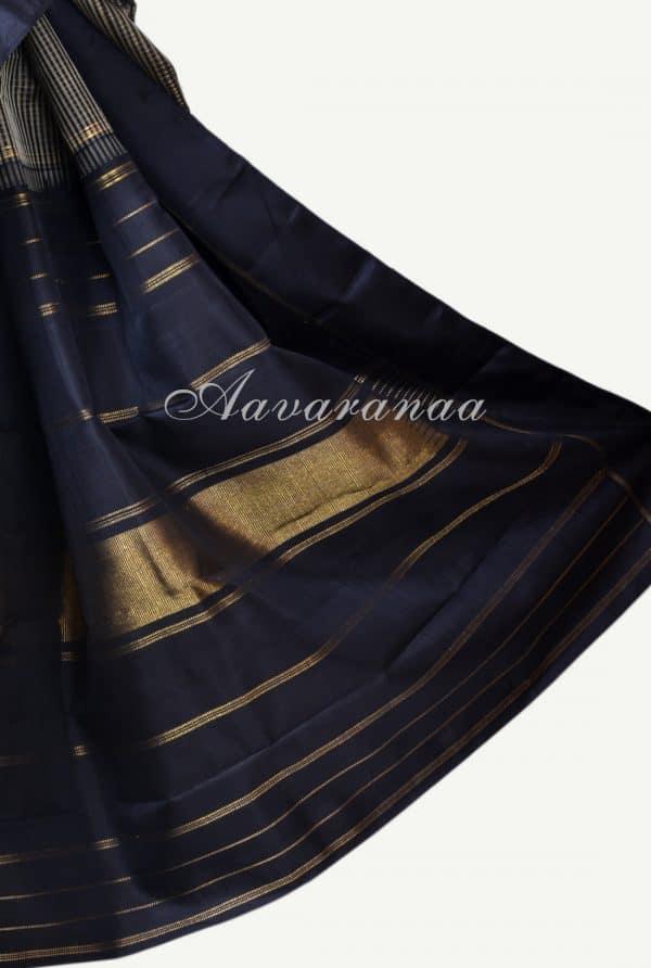 Black and beige checks kanchi silk saree-17211