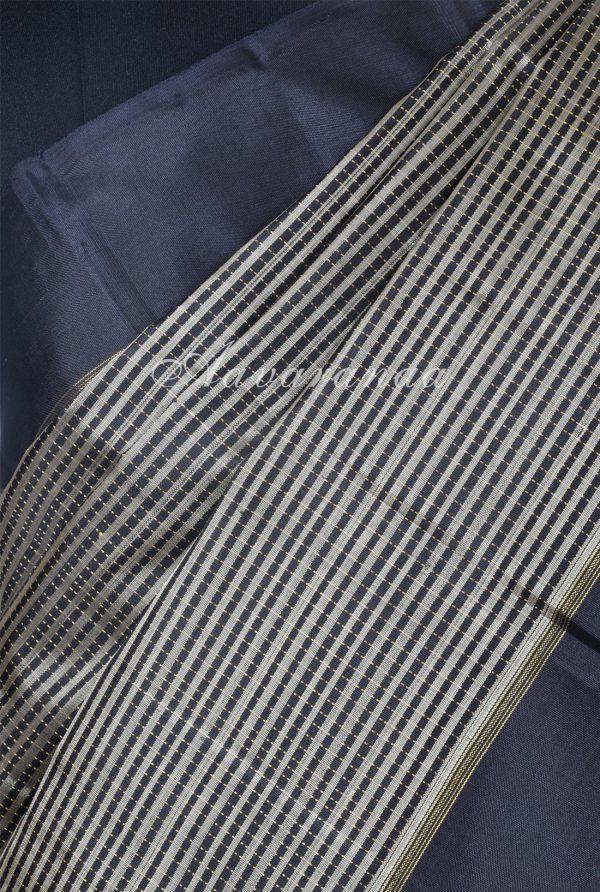 Black and beige checks kanchi silk saree-17210