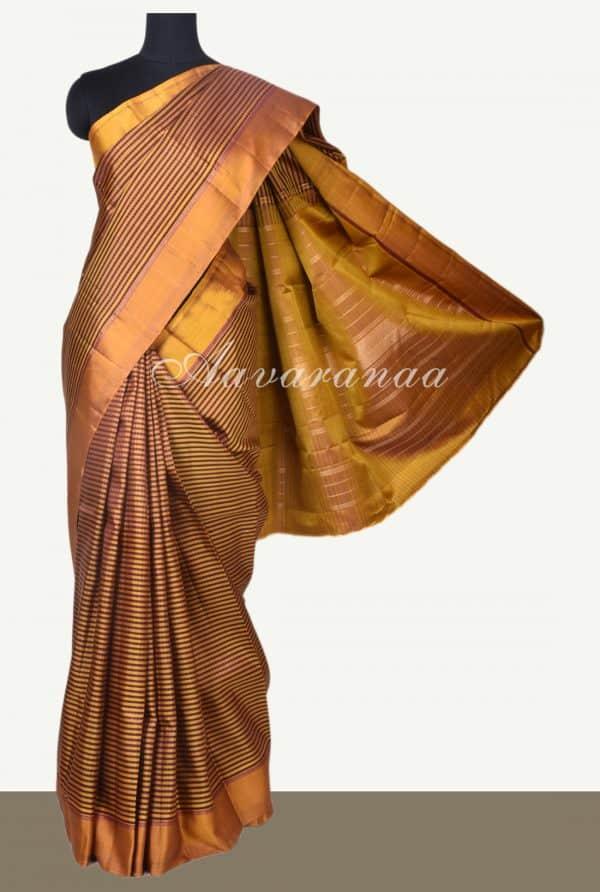 Mustard maroon checks kanchi silk saree-0