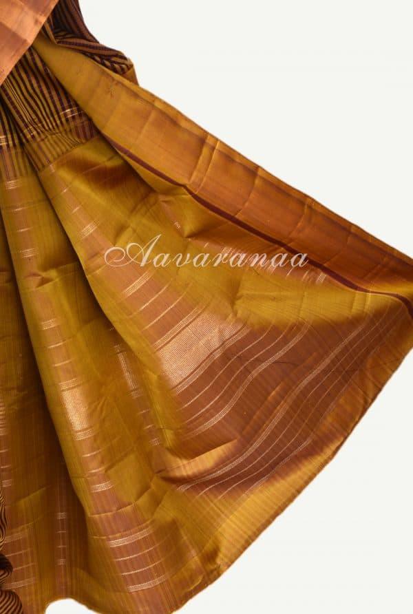 Mustard maroon checks kanchi silk saree-17226