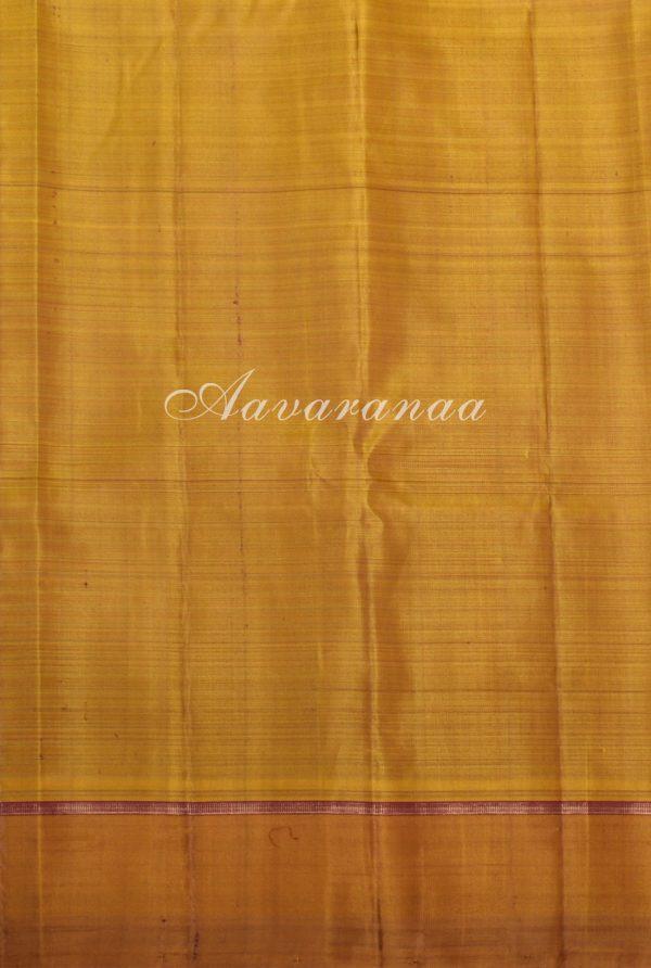 Mustard maroon checks kanchi silk saree-17228
