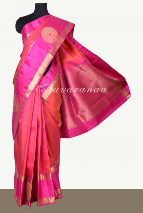 Peachish pink jacquard kanchi silk saree -0