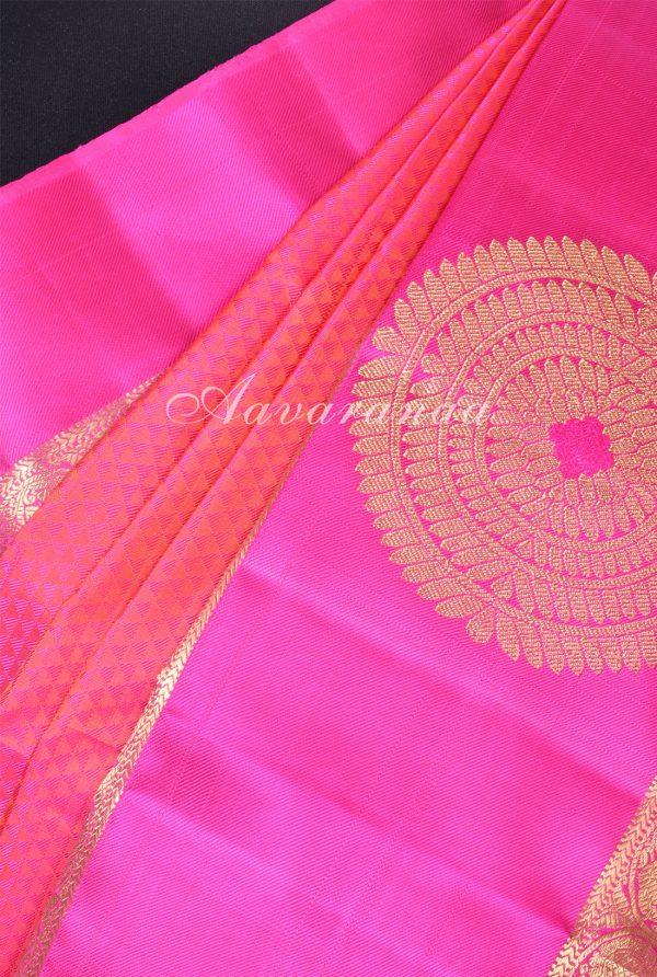 Peachish pink jacquard kanchi silk saree -17232